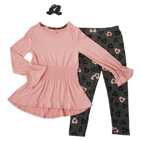 Girls (7-16) One Step Up Tunic Top with Heart Legg