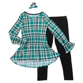Girls (7-16) One Step Up Plaid Tunic with Solid Le