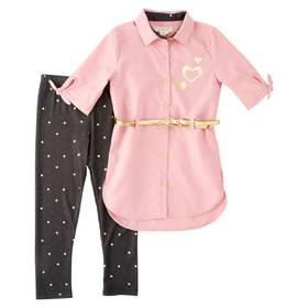 Girls (4-6x) Colette Lilly Heart Tunic Blouse & Le