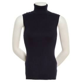 Womens Retrology Sleeveless Rib Turtleneck Sweater