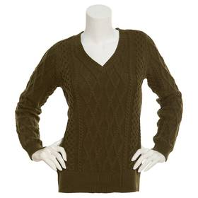 Womens Preswick & Moore Cable V-Neck Sweater