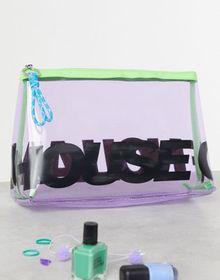 House of Holland Logo Toiletry Bag In Purple