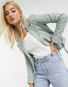 Barney's Originals belted leather jacket in mint