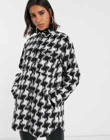 River Island houndstooth check overshirt jacket in