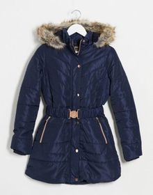 QED London quilted puffer coat with belt in navy
