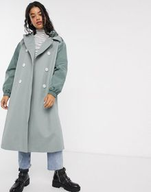 ASOS DESIGN hybrid contrast stitch trench coat in