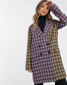 ASOS DESIGN mixed check coat