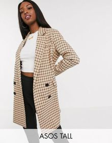 ASOS DESIGN Tall check oversized dad coat in check