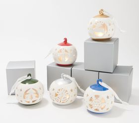 """""""As Is"""" Lightscapes Set of 5 Lit Cutwork Ceramic O"""