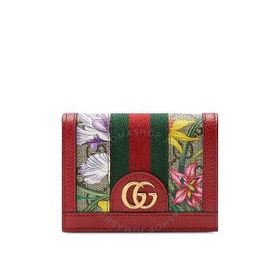 GucciOphidia GG Flora Card Case Wallet In Red