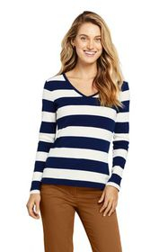 Lands End Women's All Cotton Long Sleeve V-neck T-
