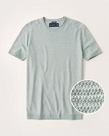 Pima Cotton Textural Knit Striped Tee, MINT GREEN