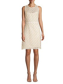 Elie Tahari Rosaleen Embroidered Basket Weave Dres