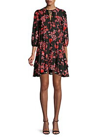 Alice + Olivia Moore Floral Puff-Sleeve Flare Dres