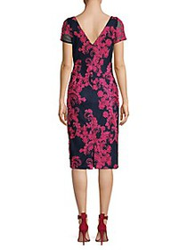 JS Collections Embroidery Short-Sleeve Sheath Dres