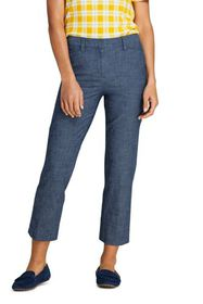 Lands End Women's Chambray Mid Rise Crop Pants