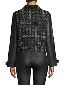 Laundry by Shelli Segal Faux Leather-Sleeve Tweed