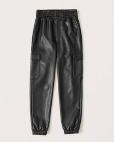 Vegan Leather Cargo Joggers, BLACK