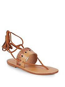 Soludos Embroidered Leather Lace-Up Sandals