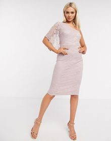 AX Paris gathered one shoulder dress in light pink