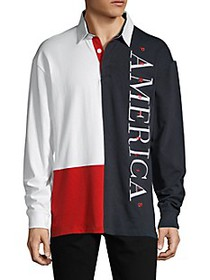 Perry Ellis ​America Collared Colorblock Cotton Po