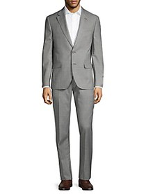 Karl Lagerfeld Worsted Wool Blend Windowpane Suit