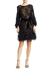 Marchesa Crystal & Sequin Embroidered Cocktail Dre