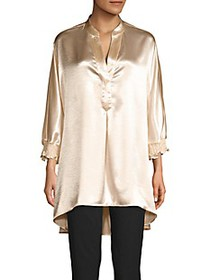 Anne Klein Metallic High-Low Blouse