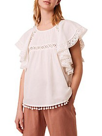 French Connection Cadenza Lace & Pom-Pom Trimmed T