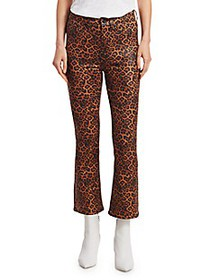 7 For All Mankind Leopard-Print High-Rise Slim-Fit
