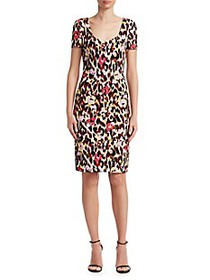 Roberto Cavalli Ikat Leopard Cady Shift Dress