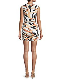 Roberto Cavalli Abstract Ruched Bodycon Mini Dress