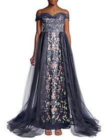 Marchesa Floral Embroidered Tulle Gown