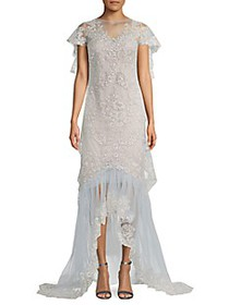 Marchesa Metallic Lace High-Low Illusion Gown