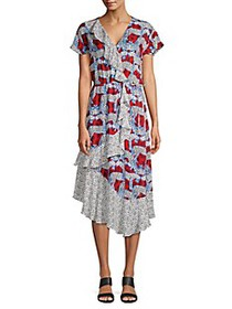 Parker Reina Mixed Print Wrap-Front Midi Dress