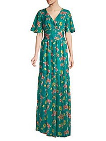Eywasouls Malibu Maria Floral Sheer-Hem Maxi Dress