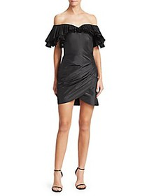 Alessandra Rich Off-The-Shoulder Pleated & Ruched