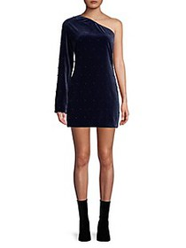 RtA Edie One-Shoulder Velvet Mini Dress
