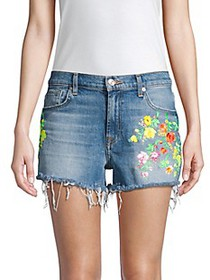 7 For All Mankind High-Waist Embroidered Floral Fr