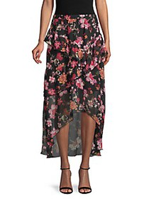 SUPPLY & DEMAND Floral-Print High-Low Skirt