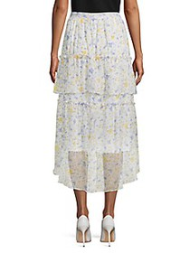 Cece Floral Tiered High-Low Midi Skirt