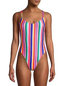 All Things Mochi Monique Rainbow Stripe One-Piece