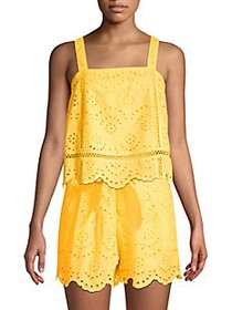 7 For All Mankind Squareneck Eyelet Cotton Tank To