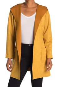 T Tahari Faux Suede Hooded Waist Tie Jacket