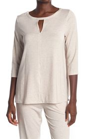 Donna Karan Heathered Keyhole 3/4 Sleeve Pajama To