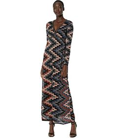 M Missoni Long Sleeve Lurex Gown in Art Deco Tile