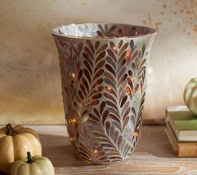 """""""As Is"""" 10"""" Illuminated Mosaic Leaf Curved Vase by"""