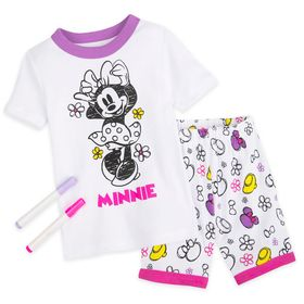 Disney Minnie Mouse Colorable Pajama and Marker Se