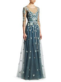 Marchesa Three-Quarter-Sleeve Beaded Tulle Gown