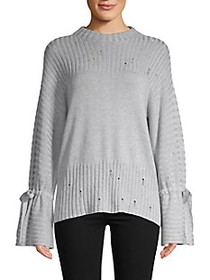 Saks Fifth Avenue Ribbed Bell-Sleeve Crewneck Swea